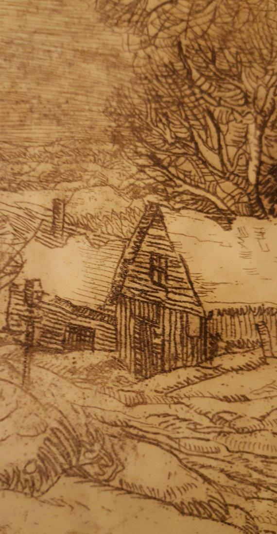 CARL KRAFFT Signed Etching Village Road - 5