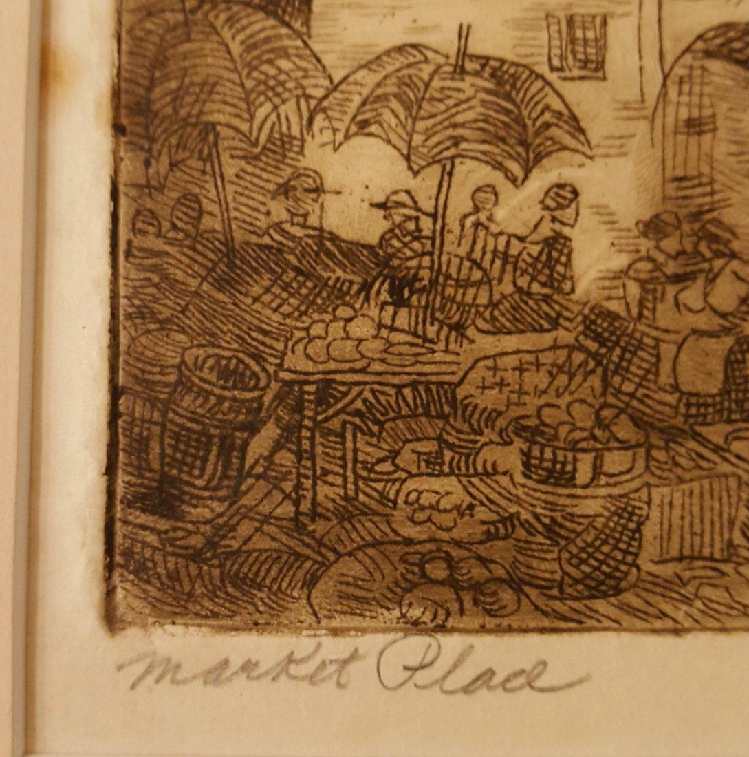 CARL KRAFFT Signed Etching Market Place - 3