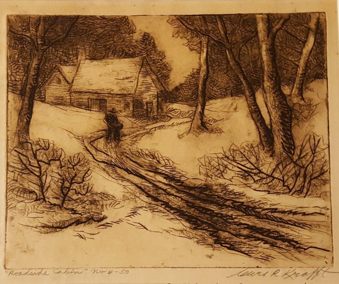 CARL KRAFFT Signed Etching Roadside Cabin
