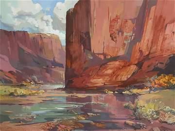 L. SISSON Southwest landscape Oil signed