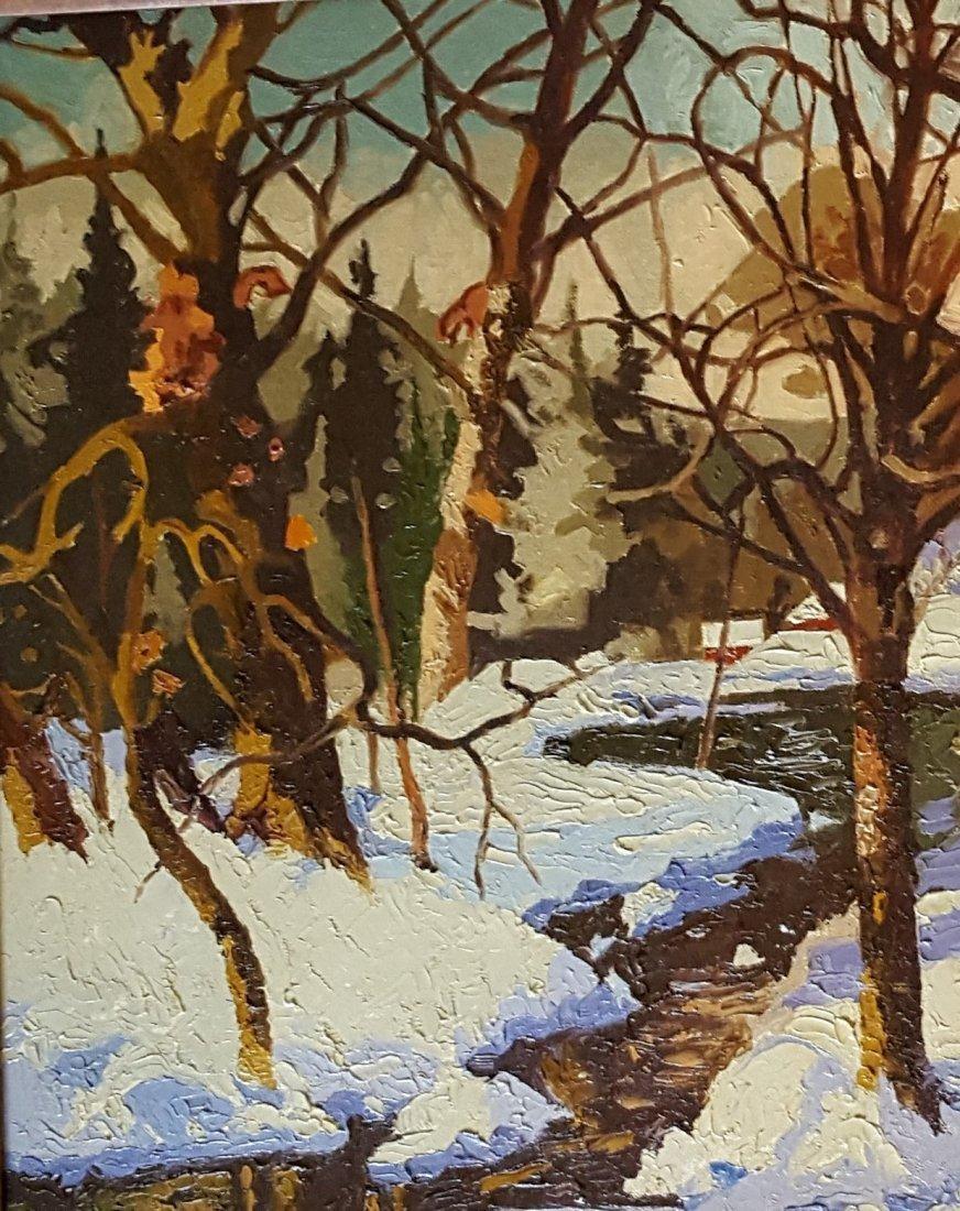 V.J. HARLES Oil on Canvas Winter Landscape