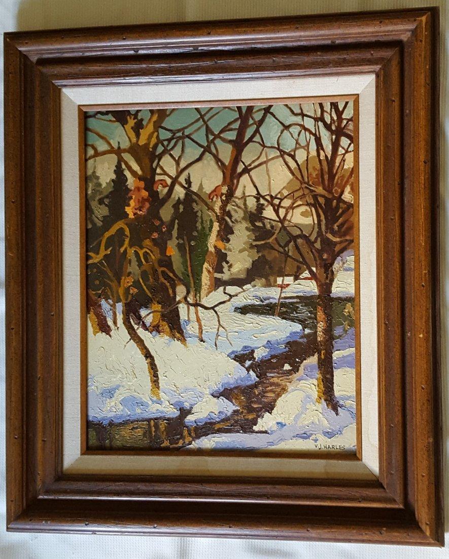 V.J. HARLES Oil on Canvas Winter Landscape - 2
