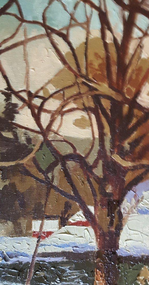 V.J. HARLES Oil on Canvas Winter Landscape - 3