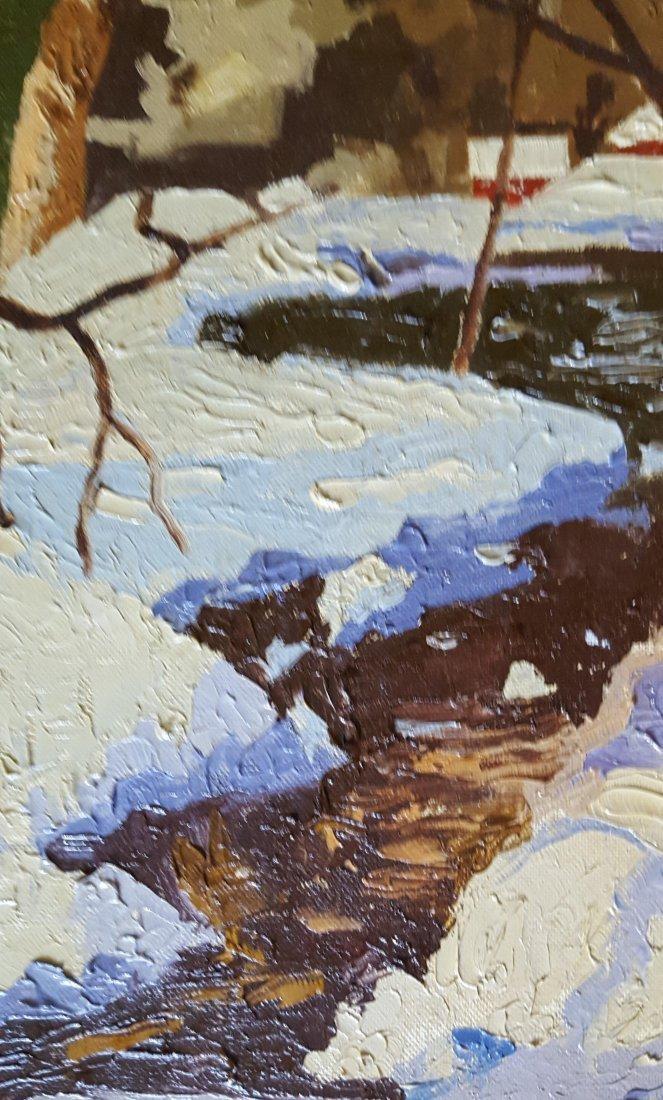 V.J. HARLES Oil on Canvas Winter Landscape - 4