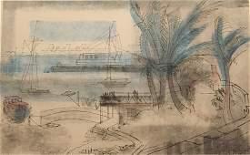 """JOE JONES  """"Tropical Harbour"""" Signed Serigraph"""