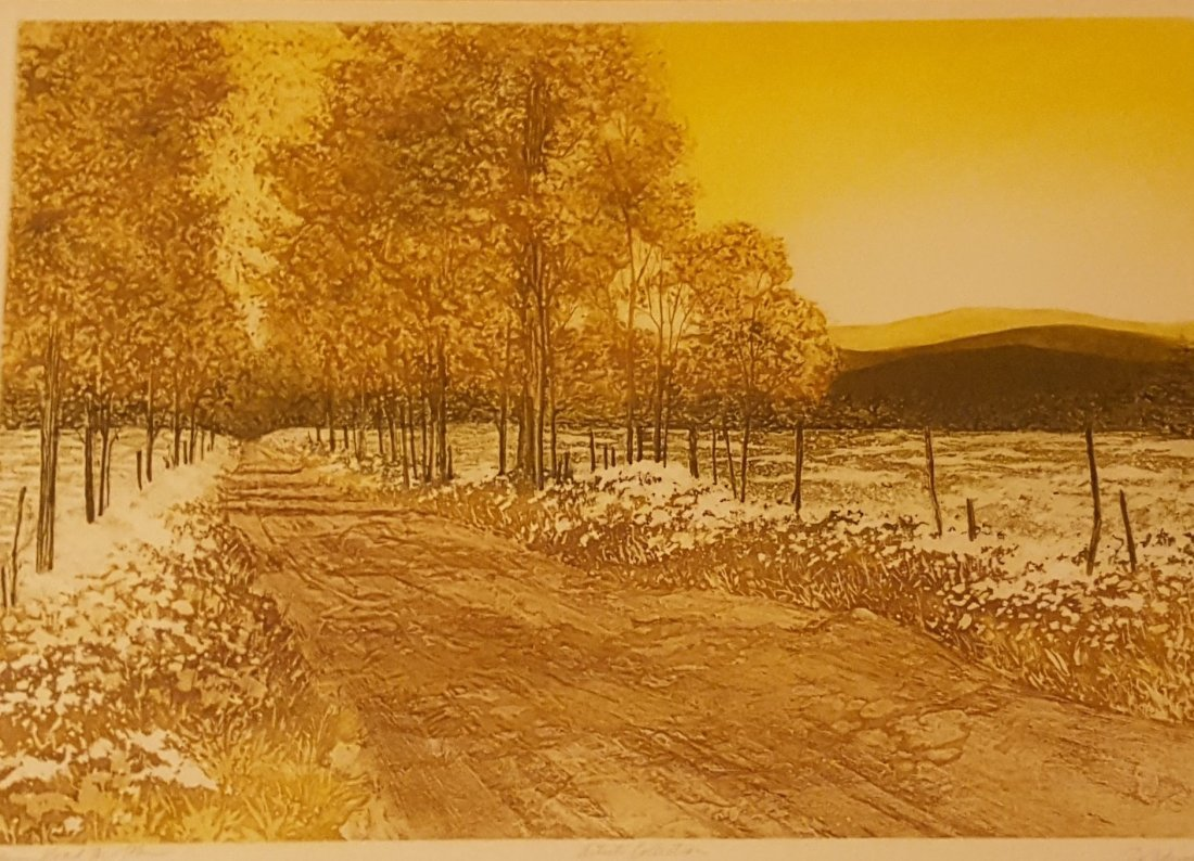 SIGNED Wood Block Print Countryside in Fall