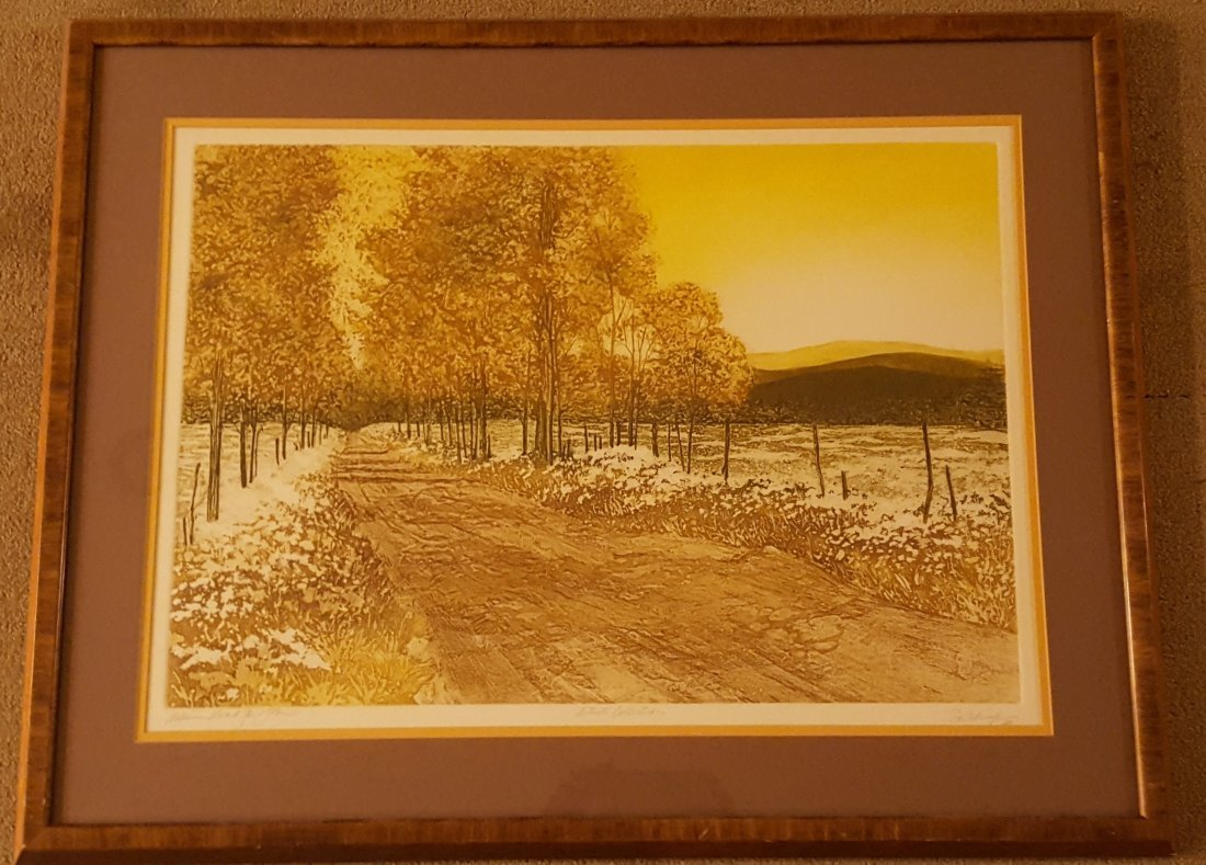 SIGNED Wood Block Print Countryside in Fall - 2