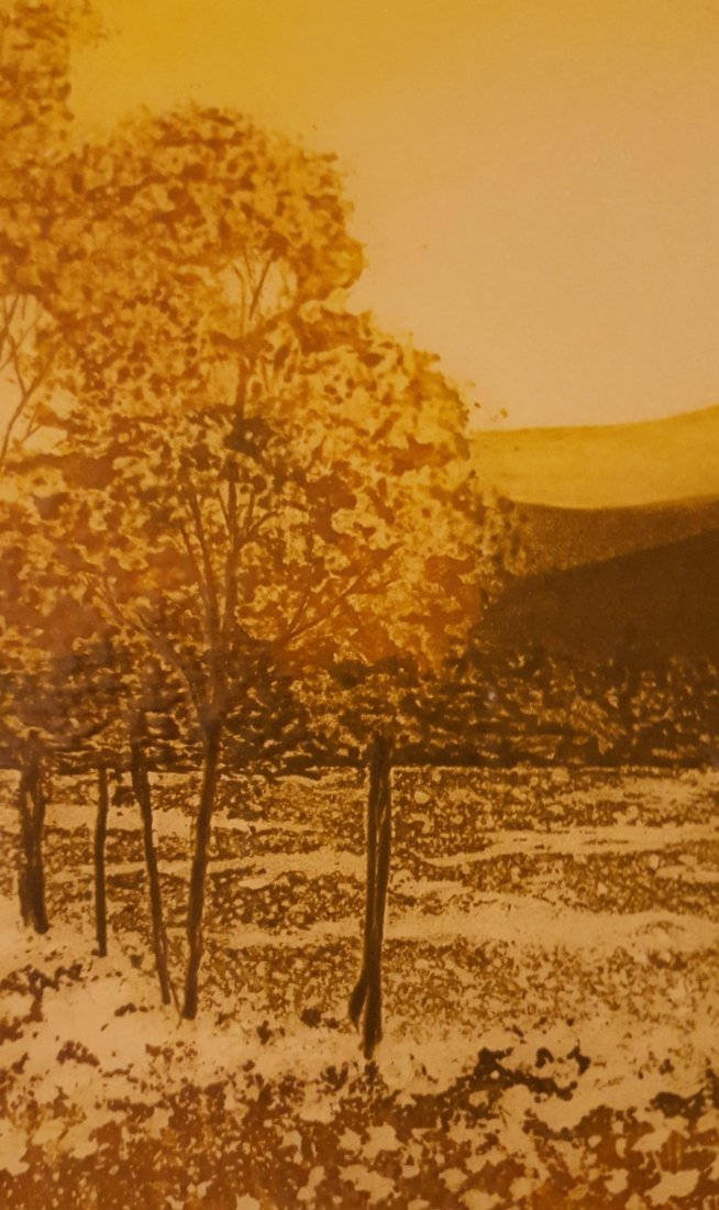 SIGNED Wood Block Print Countryside in Fall - 6