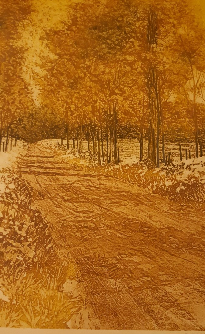 SIGNED Wood Block Print Countryside in Fall - 7
