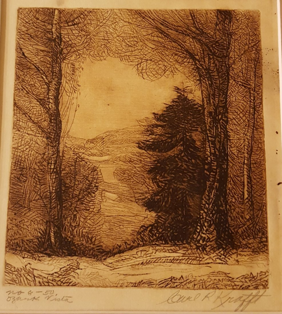 CARL KRAFFT Signed Etching Ozark Vista