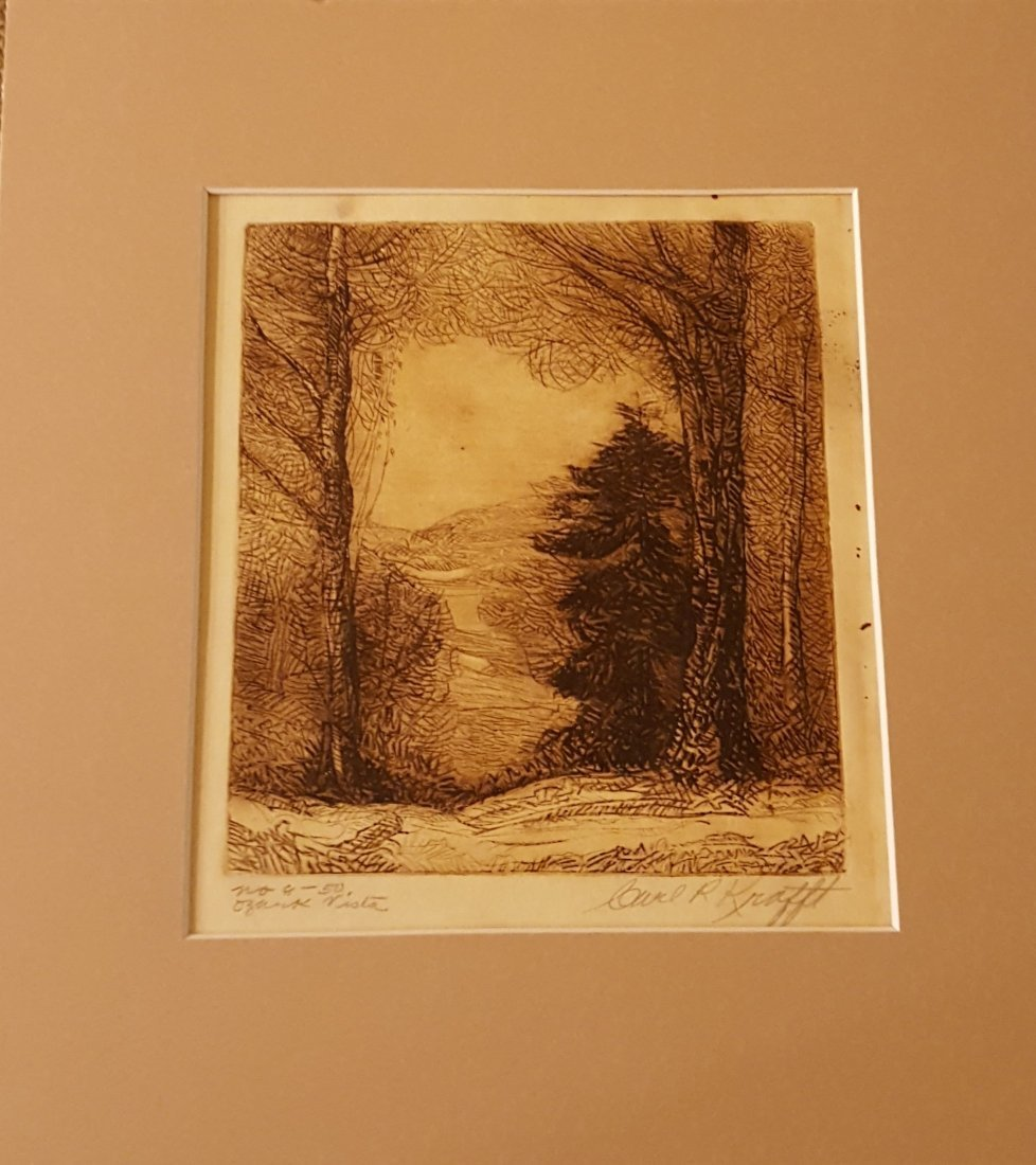 CARL KRAFFT Signed Etching Ozark Vista - 2