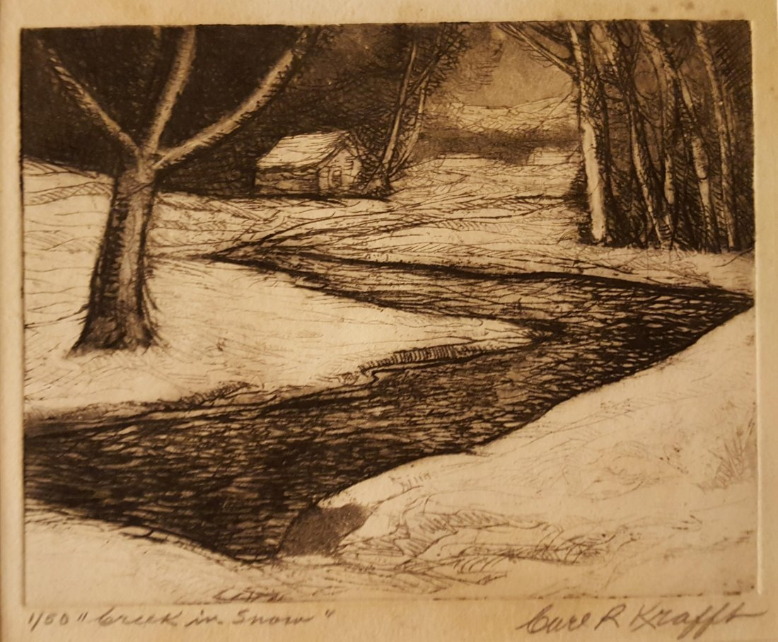 CARL KRAFFT Signed Etching Creek in Snow