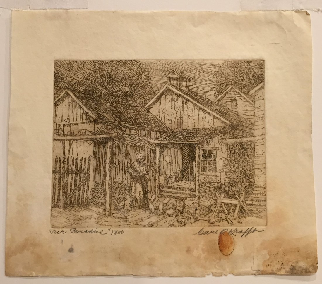 CARL KRAFFT Signed Etching Her Paradise
