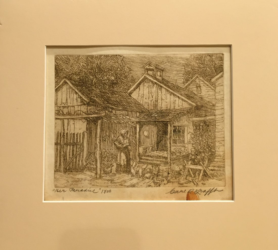 CARL KRAFFT Signed Etching Her Paradise - 2