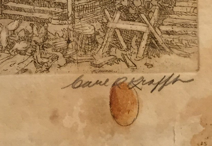 CARL KRAFFT Signed Etching Her Paradise - 3