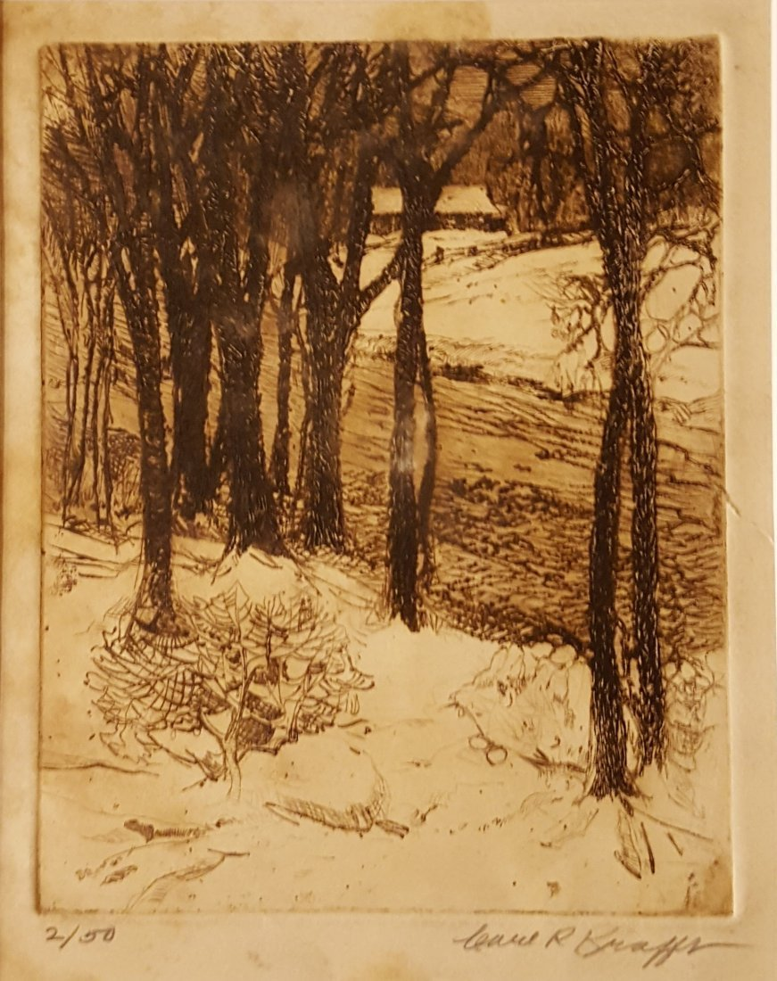 CARL KRAFFT Signed Etching Creek in Winter