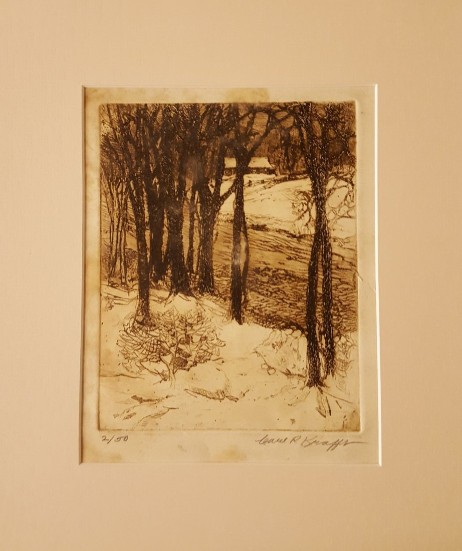 CARL KRAFFT Signed Etching Creek in Winter - 2