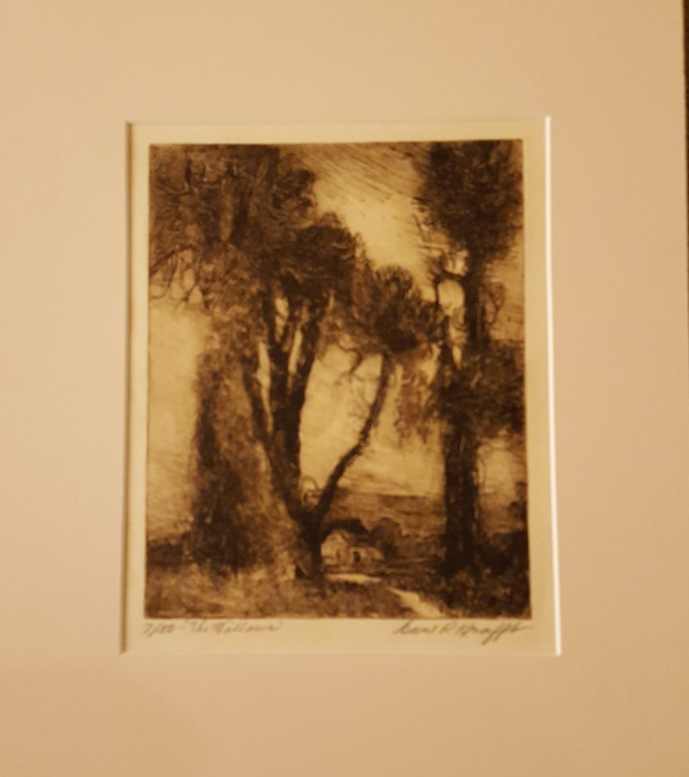 CARL KRAFFT Signed Etching The Willows