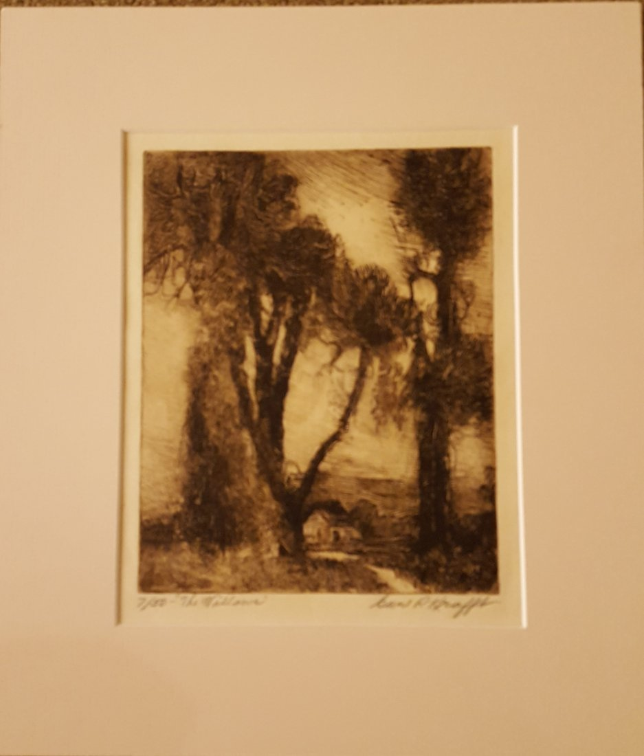 CARL KRAFFT Signed Etching The Willows - 2