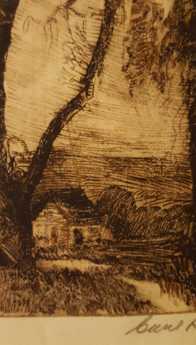 CARL KRAFFT Signed Etching The Willows - 3