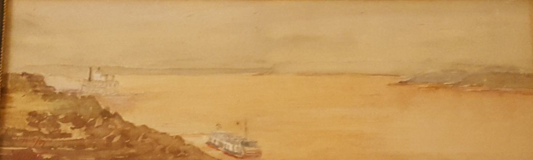 FRITON 1907 Steamboats on Mississippi Watercolor