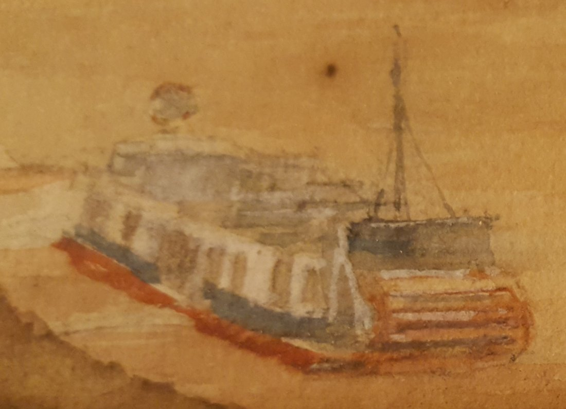 FRITON 1907 Steamboats on Mississippi Watercolor - 3