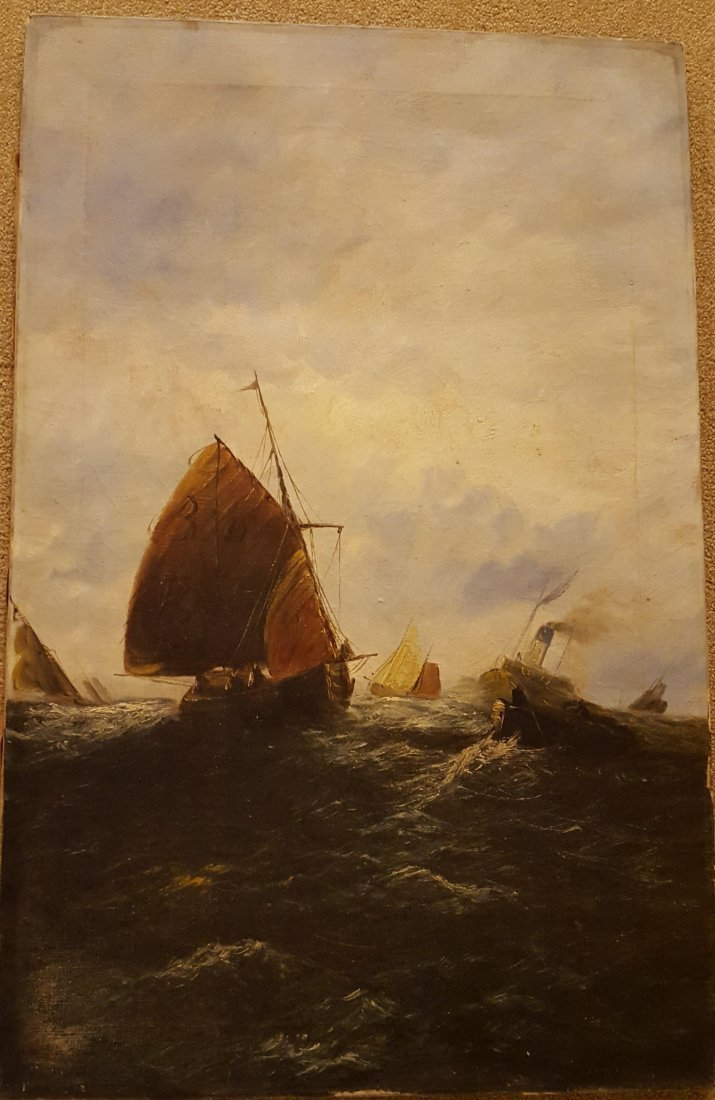 DRAMATIC Oil on Canvas Ships on the High Sea