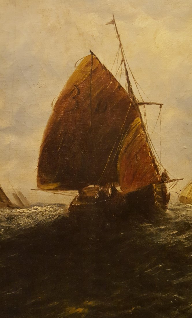 DRAMATIC Oil on Canvas Ships on the High Sea - 2