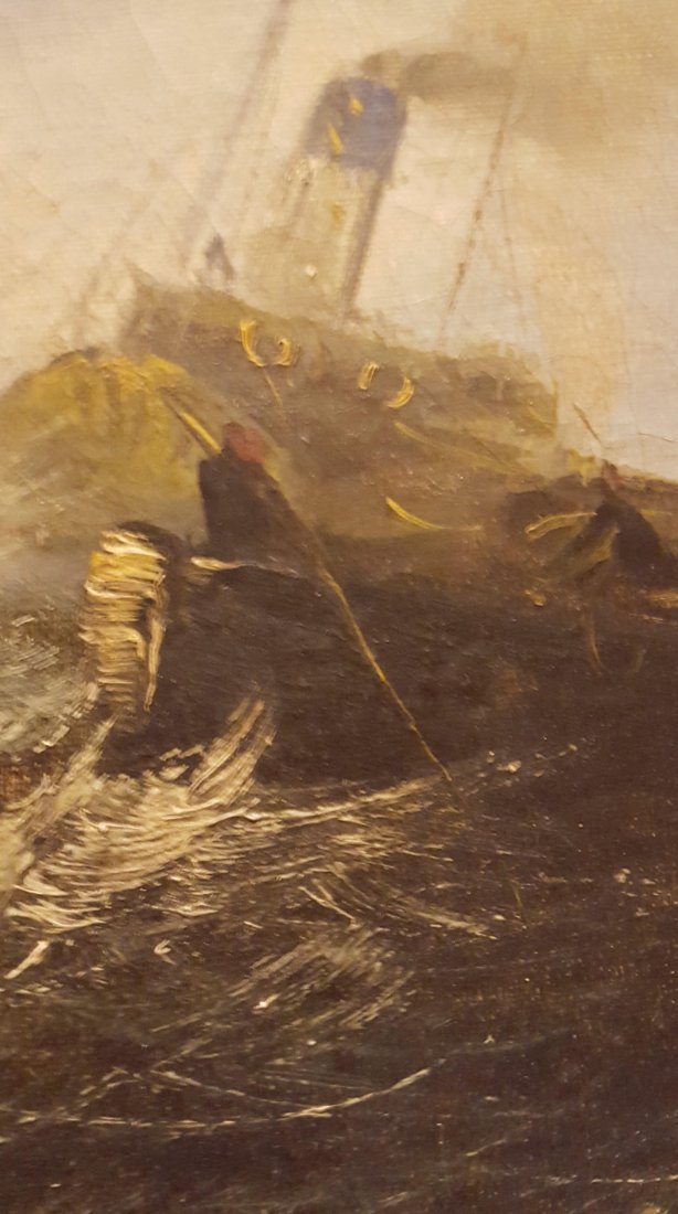 DRAMATIC Oil on Canvas Ships on the High Sea - 3