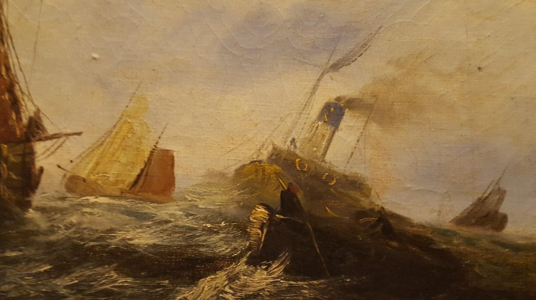 DRAMATIC Oil on Canvas Ships on the High Sea - 5
