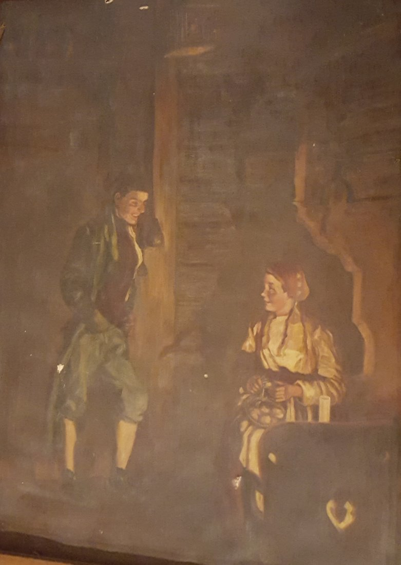 HUGE c.19th Century Oil on Canvas
