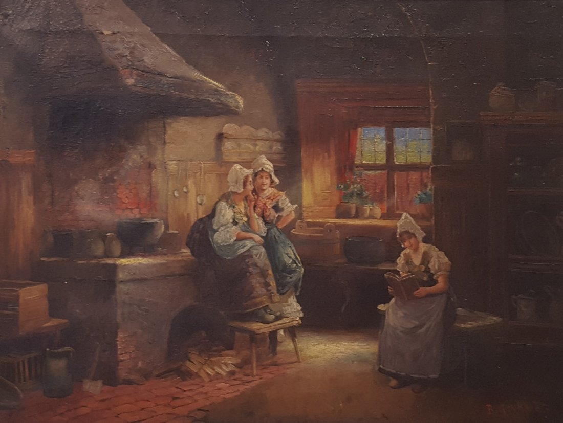 "Signed Early 20th Century Austrian ""Around the Hearth"""