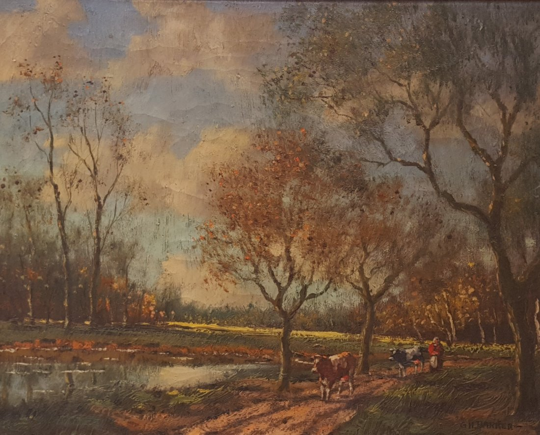 G.H. BARKER Landscape Oil/Canvas