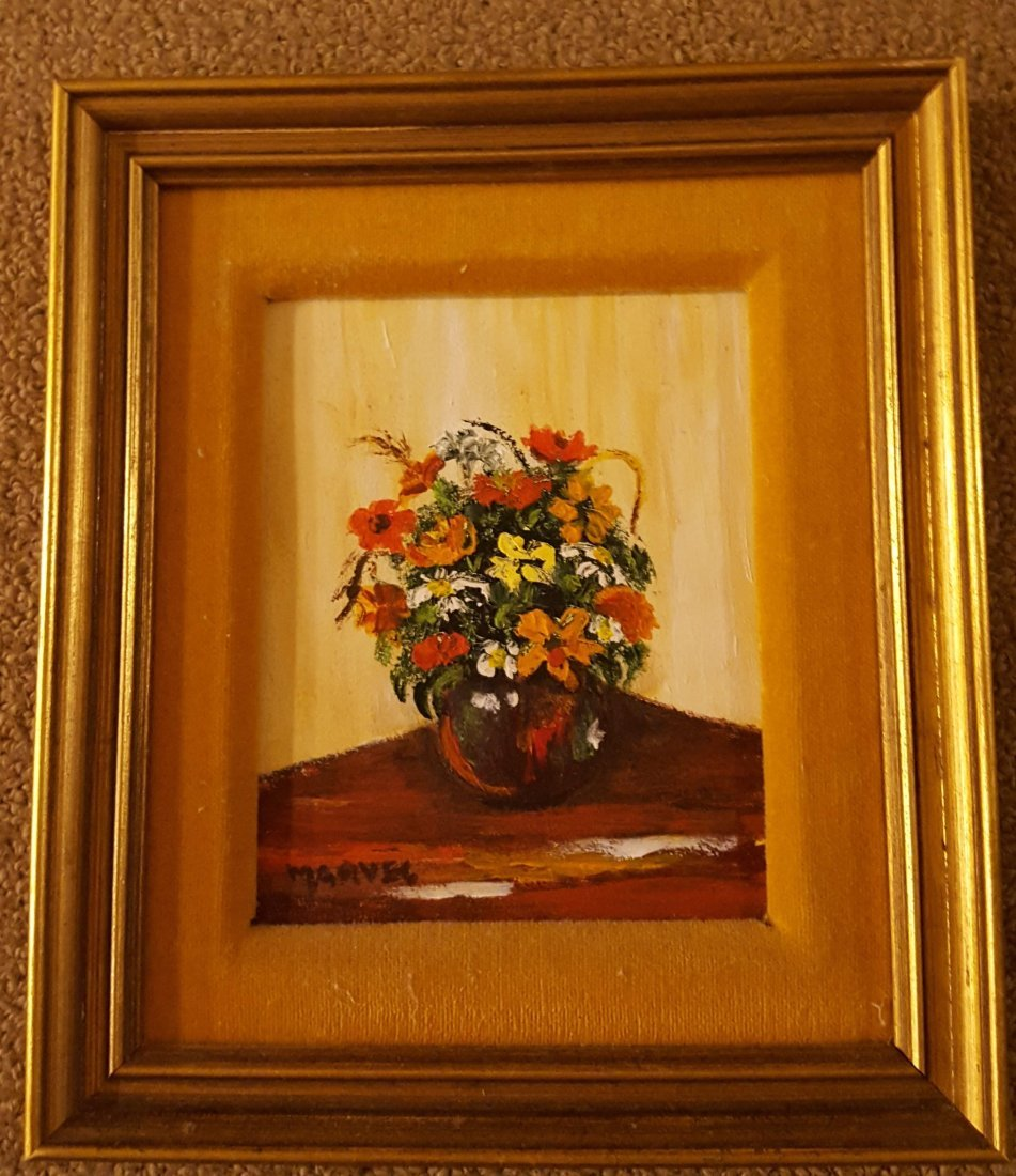 SIGNED Floral Still Life, Oil on Board