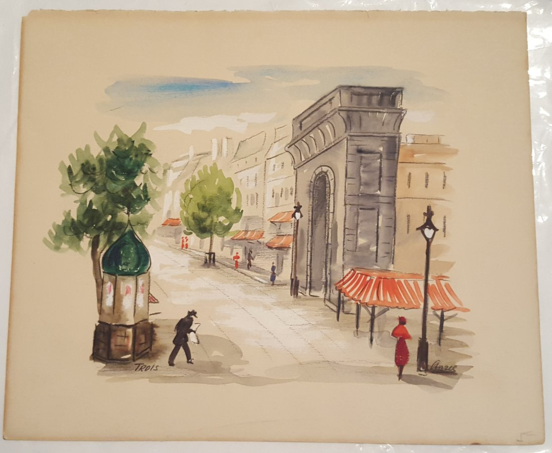AMES Mid-Century Watercolor of a Paris Street