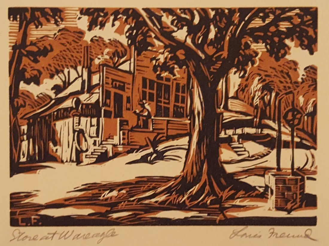 "LOUIS FREUD Woodcut ""Store at War Eagle"""