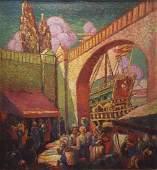 """JOE JONES """"Market"""" 1929 Oil on Canvas"""