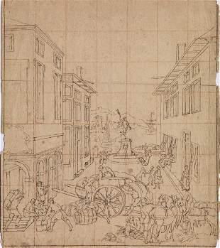 Scuola veneta, sec. XVIII VEDUTA DI UNA PIAZZA CON