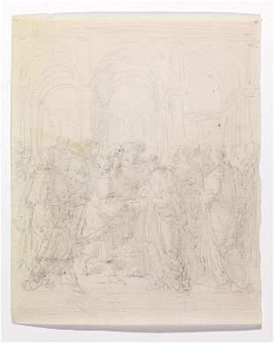 Artista neoclassico IL MATRIMONIO DELLA VERGINE matita