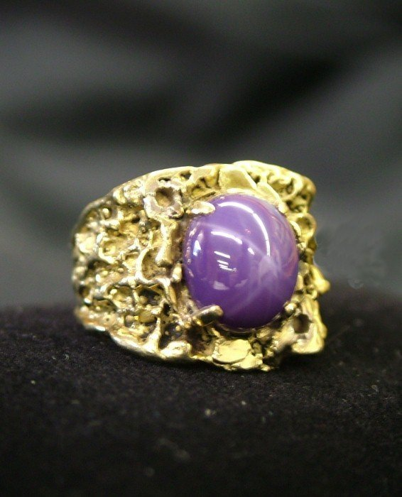 28: 18k Gents. Nugget Lindy Star Sapphire Ring 17gr.