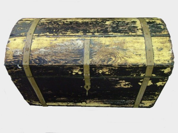 1005: Painted and Forged Strapped Dome Top Trunk
