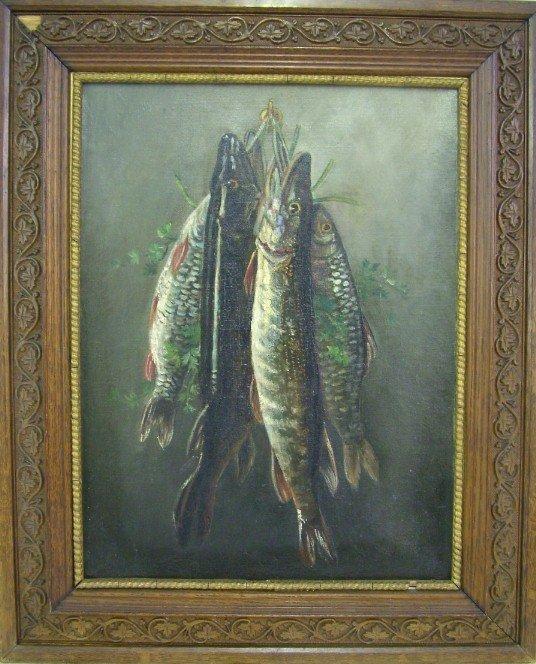 1009: Oil on Canvas Fish Still Life