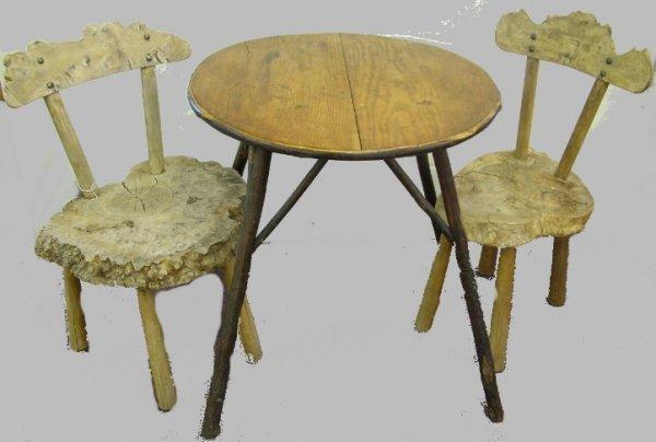 1015: Pair or Burled Tree Trunk Adirondack Chairs
