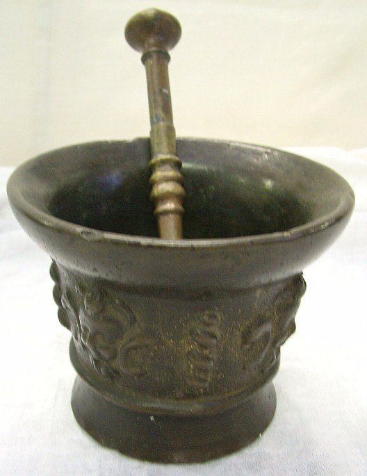 1023: 17th Century Solid Brass Mortar And Pestle