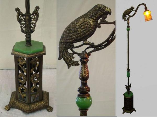 1124: Antique Bronze Parrot Floor Lamp
