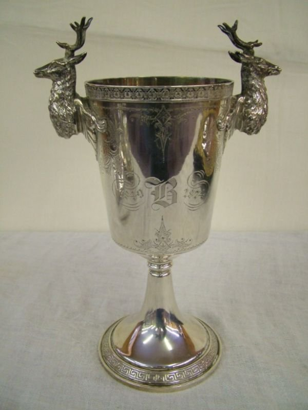1129: Gorham Sterling Aesthetic Trophy With Stags