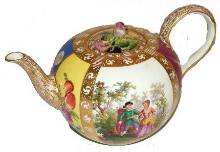 83: 19th Century Messein Hand Painted Scenic Tea Pot