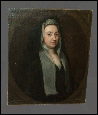 81: 18th Century Oil On Canvas Of Bach's Wife