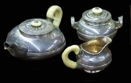 84:Russian Hallmarked Silver & Ivory Hot Beverage Set