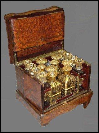 95: Burled Walnut Crystal & Gold Flake Tantalus Set